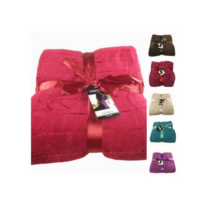 2X luxury satin stripe fleece throw - 6 colours
