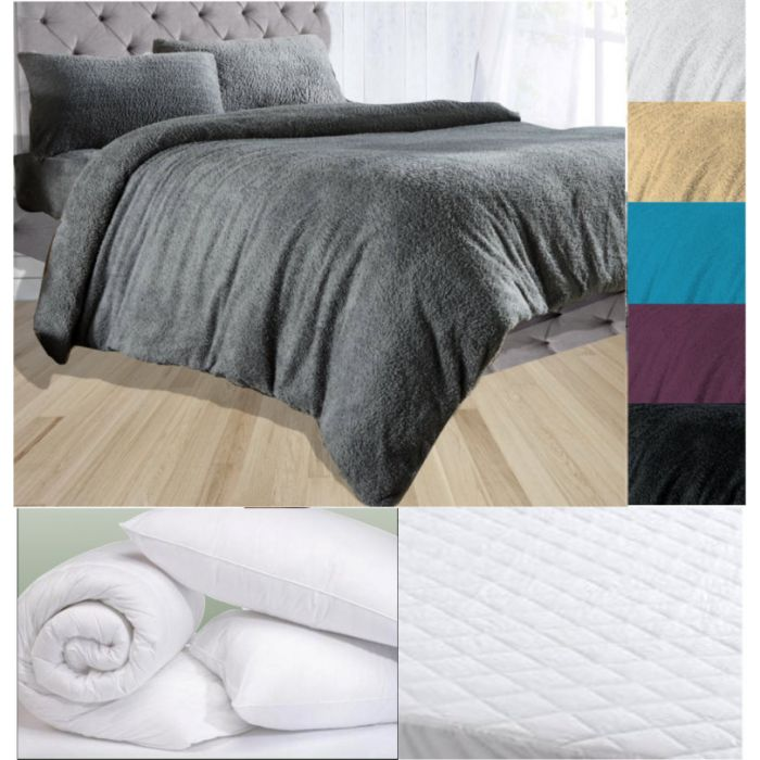 Complete bedding set with duvet cover, pillows, duvet and mattress protector