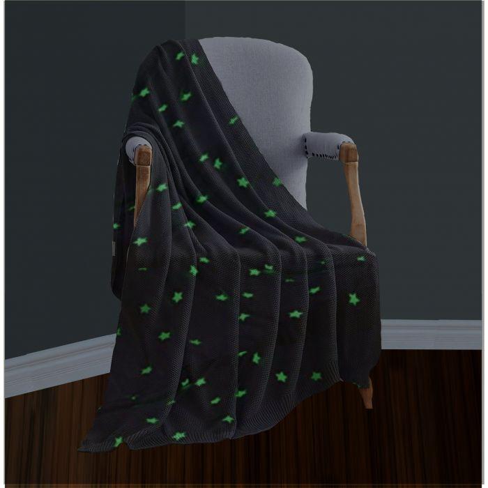 Teddy fleece star design glow in the dark blanket