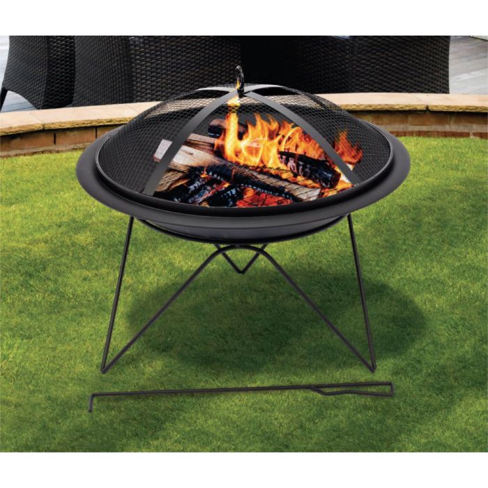 Round fire pit with BBQ Grill