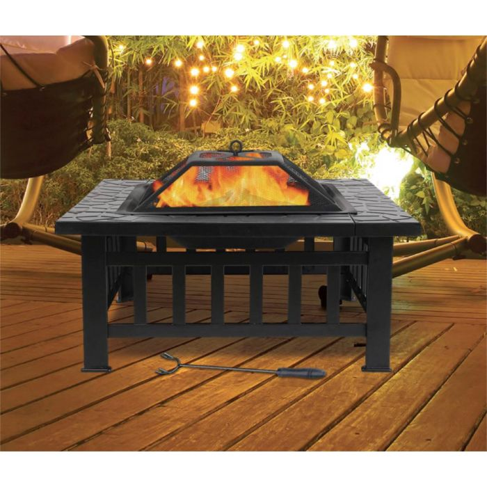 Large Square fire pit with BBQ Grill