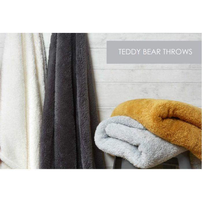 supersoft teddy fleece throws - 2 sizes 6 colours